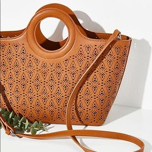 FREE PEOPLE Cut Out Tote in Tan